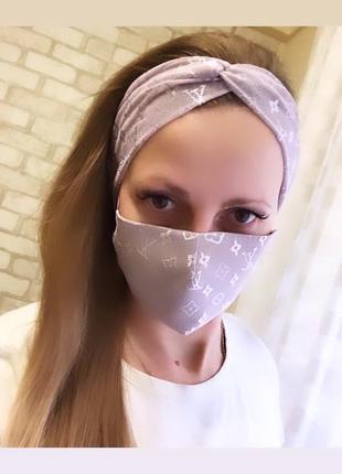 Комплект маска + повязка тюрбан сетка.
