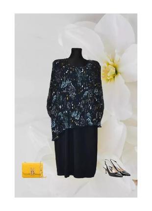 Нарядное платье сукня миди плиссе черное принт плиссировка р.52-56