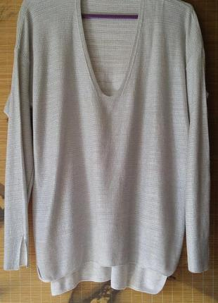 Легкий серебристый хлопковый пуловер оверсайз zara