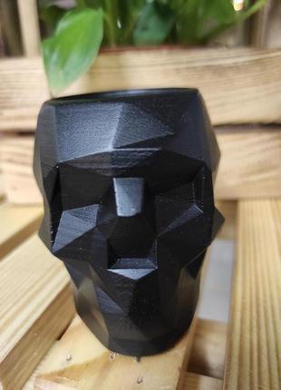 Бетонное кашпо череп для кактусов и суккулентов