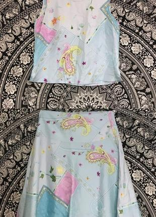 Шелковый костюм юбка майка