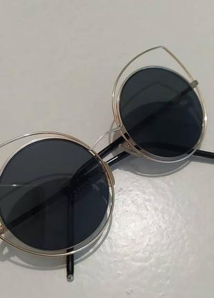 Женские черные солнцезащитные очки новые круглые кошки