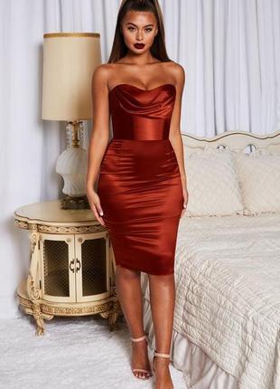 Коктельное вечернее платье мидт сатин шелк бра корсет oh polly