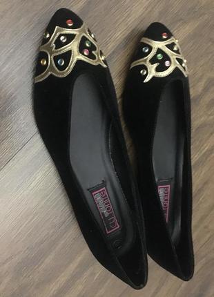 Туфли женские весенние чёрные замшевые, размер 36-37.2 фото