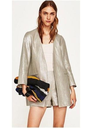 ✅удлиненный жакет, льняной пиджак, блейзер лен zara