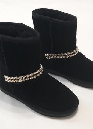 Женские черные угги( ботинки, сапоги) из натуральной замши с камушками