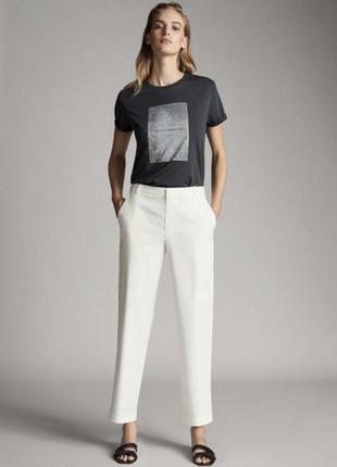 Белые хлопковые брюки massimo dutti