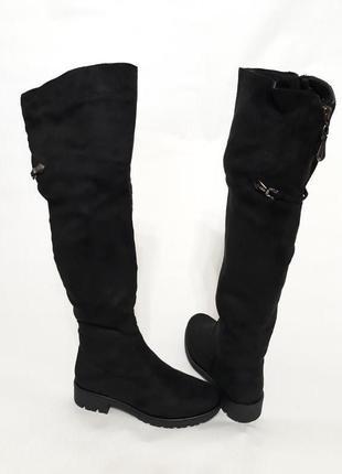 Женские зимние черные ботфорты (сапоги) из эко-замши