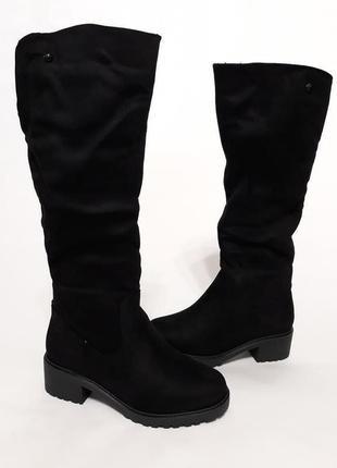 Женские зимние черные сапоги (ботинки) из эко-замши
