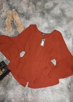 Трендовая блуза рукав клёш  терракотового цвета 🤎