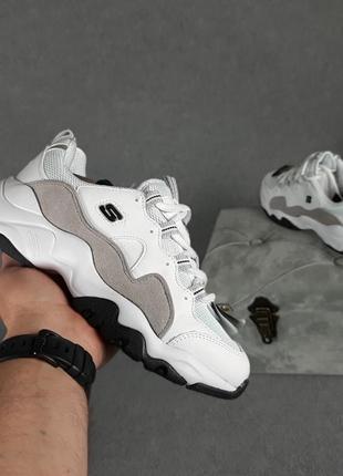 Женские кроссовки skechers d'lites белые с серым