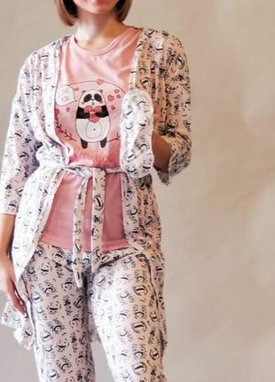 Женская пижама с халатом и повязкой. разные расцветки
