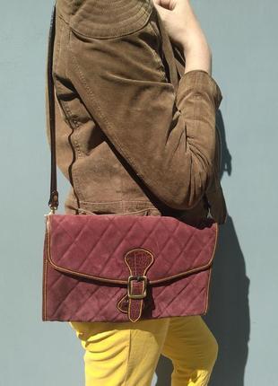 Модная стеганая красивая замшевая сумка
