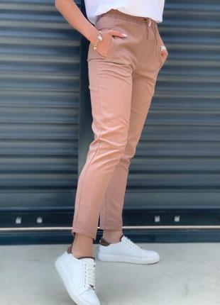 Женские летние однотонные брюки, лен. льняные штаны на шнурке