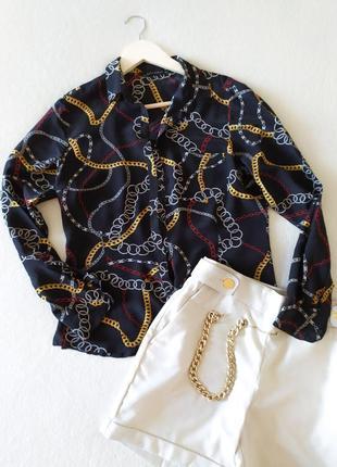 Шелковая блуза рубашка с эффектным принтом zara