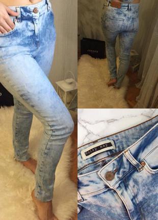 Светлые джинсы с повышенной талией noisy may