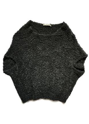 Жилетка пончо свитер с коротким рукавом вязаная кофта тёплая мохеровая шерстяная zara knit
