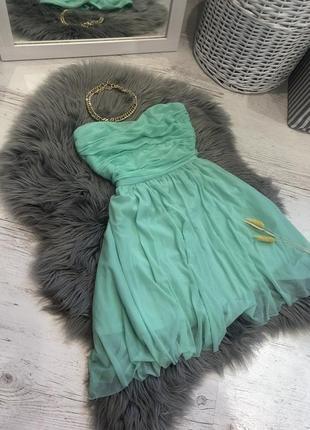 Фатиновое платье цвета тиффани. сукня фат нова