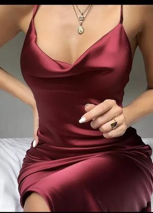 Сукня міді сліп дрес oh polly ♥️ атласное шелковое платье миди