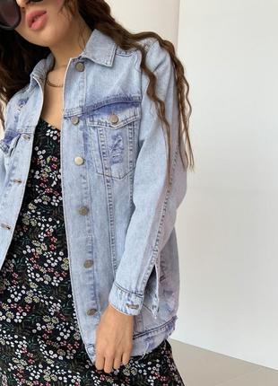 Стильная удлинённая джинсовка, джинсовый пиджак