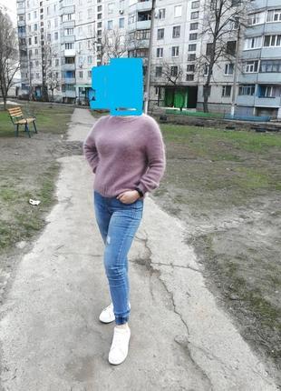 Базовый пушистый джемпер свитер из ангоры