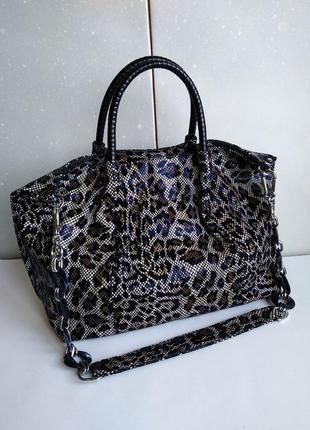 Кожаная леопардовая сумка, сумка-мешок натуральная кожа, лазерная сумка