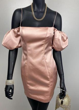 Атласное шелковое платье с откидными плечиками oh polly. сукня з відкритими плечима