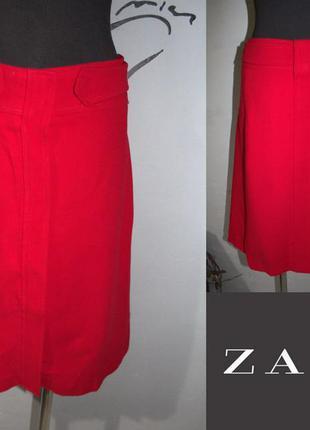 Шерстяная красная миди юбка zara