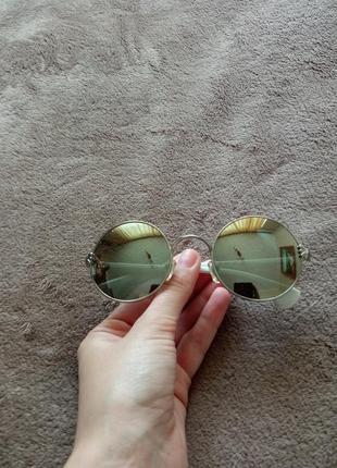 Очки солнцезащитные круглые, зеркальные5 фото