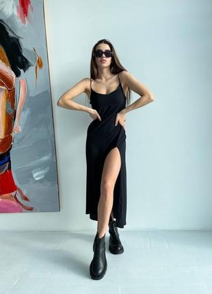 Черное платье комбинация с разрезом