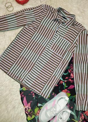 Актуальная рубашка в разноцветную полоску