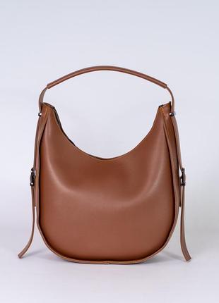 Рыжая коричневая сумочка мешок на одно плечо с ручкой