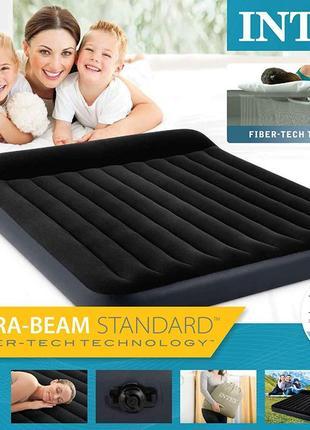 Intex велюр кровать 64143 с подголовником  203х152х25см