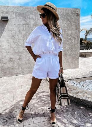 Летний женский костюм свободный шорты рубашка льняной белый беж