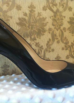 Туфли кожаные - черные – лакированные