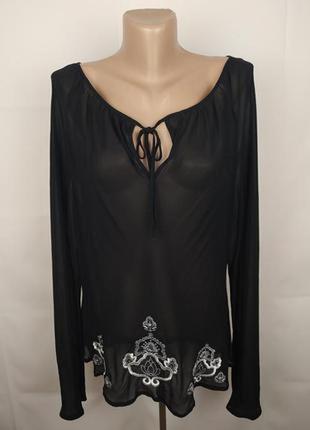 Блуза стильная легкая шелковая с вышивкой большой размер шифон шелк monsoon uk 18/46/xxl