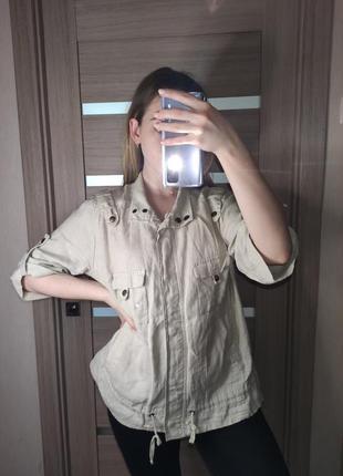 Льняная рубашка в стиле милитари