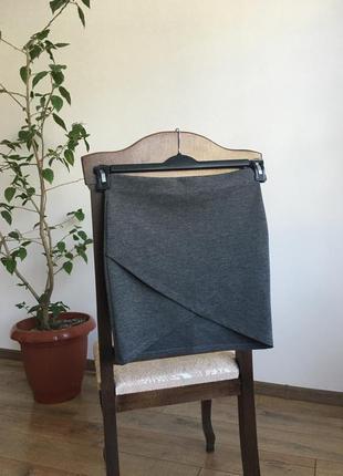 Базовая серая юбка на запах zara asos mango h&m