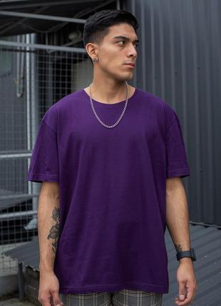 Фиолетовая хлопковая футболка оверсайз мужская without