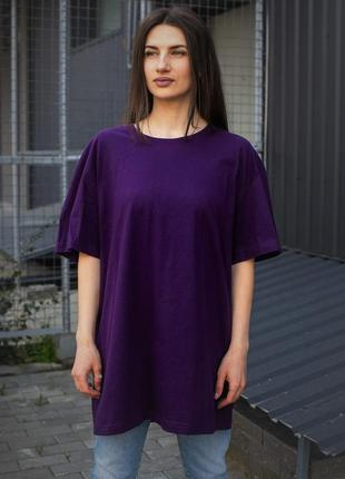 Фиолетовая хлопковая футболка оверсайз для девушек without