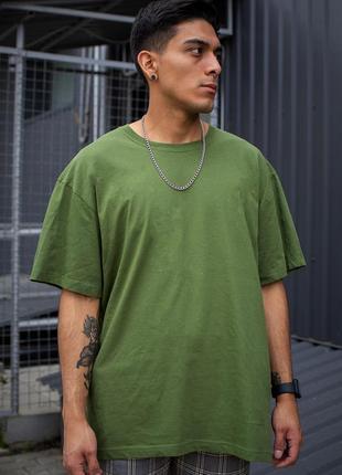 Зеленая хлопковая футболка оверсайз мужская without