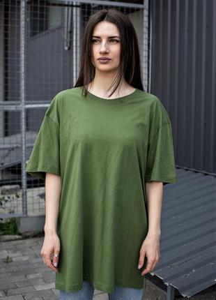 Зеленая хлопковая футболка оверсайз для девушек without