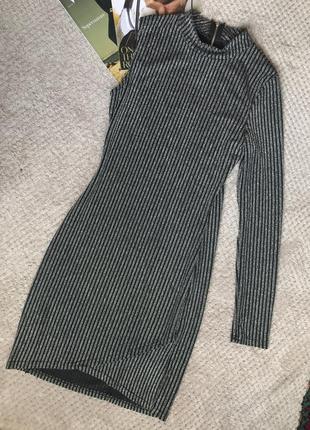 1+1=3✨ плаття на один рукав  блискуче срібно чорне