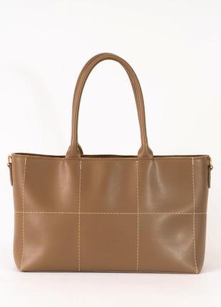 Коричневая женская деловая сумка с ручками и плечевым ремнем