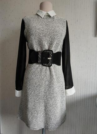 Платье винтаж белый воротник и манжеты рукав прозрачный