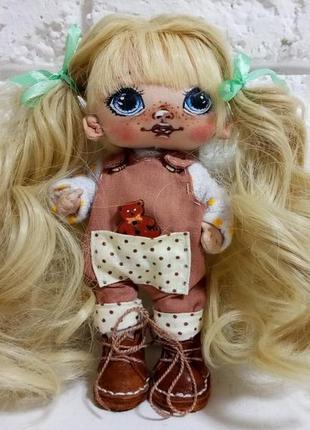 Кукла ручной работы в съемной одежде авторская кукла из ткани