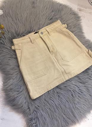Джинсовая юбка бежевая. джинсова спідниця