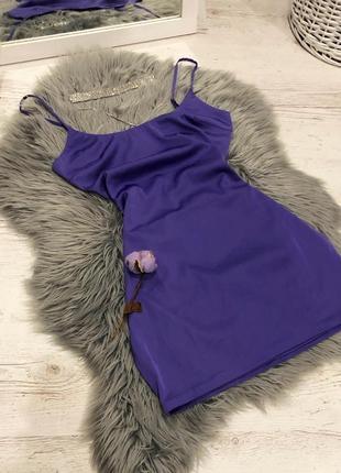 Атласное шелковое платье oh polly 💜 сліп дрес атласна сукня міні