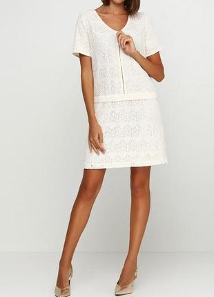 Короткое кружевное кремовое платье la redoute.