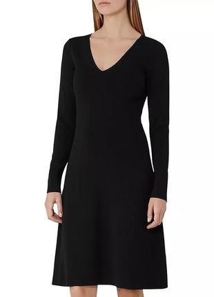 Платье миди трикотажное черное с длинным рукавом